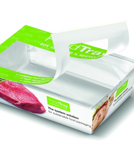 The integrated carton/film design of the FoodTray is mostly recyclable and can be used for a wide range of applications. Picture: Gea