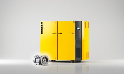 The variable-speed versions of Kaeser's CSD/CSDX series rotary screw compressors feature a synchronous reluctance drive system from Siemens. (Picture: Kaeser)