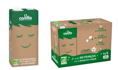 SIG's Signature Pack 100 – the world's only aluminium-free aseptic carton pack with polymers linked to plant-based renewable material – is being launched in France for the first time by Candia, part of the leading French dairy cooperative Sodiaal. It is the first aluminium-free carton pack on the French ambient liquid dairy market. (Picture: SIG)