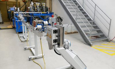 Complete lab-scale system for Asahel Benin Sarl., consisting of a ZSK 26 Mc18 twin screw extruder, four feeders from Coperion K-Tron, as well as a water bath, air wipe and SP 50 strand pelletizer from Coperion Pelletizing Technology. (Picture: Coperion)