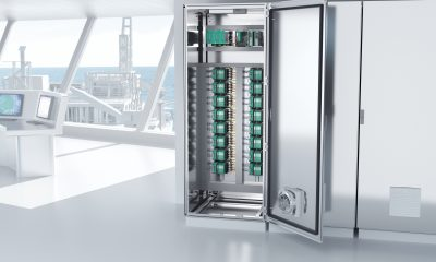 Low heat dissipation enables a high packing density in the cabinet, thus saving space in the control room. Picture: Pepperl+Fuchs