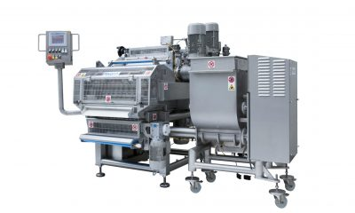 MRD540 single sheet filling and forming machine for fresh pasta with a lobe pump for filling dosage.