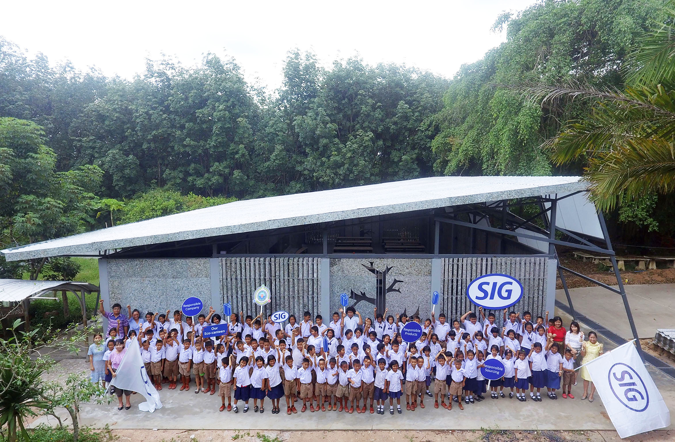 SIG is showcasing how companies and communities can come together to turn waste into value through an innovative 'eco-canteen' made almost entirely from used beverage cartons at a school in Thailand.