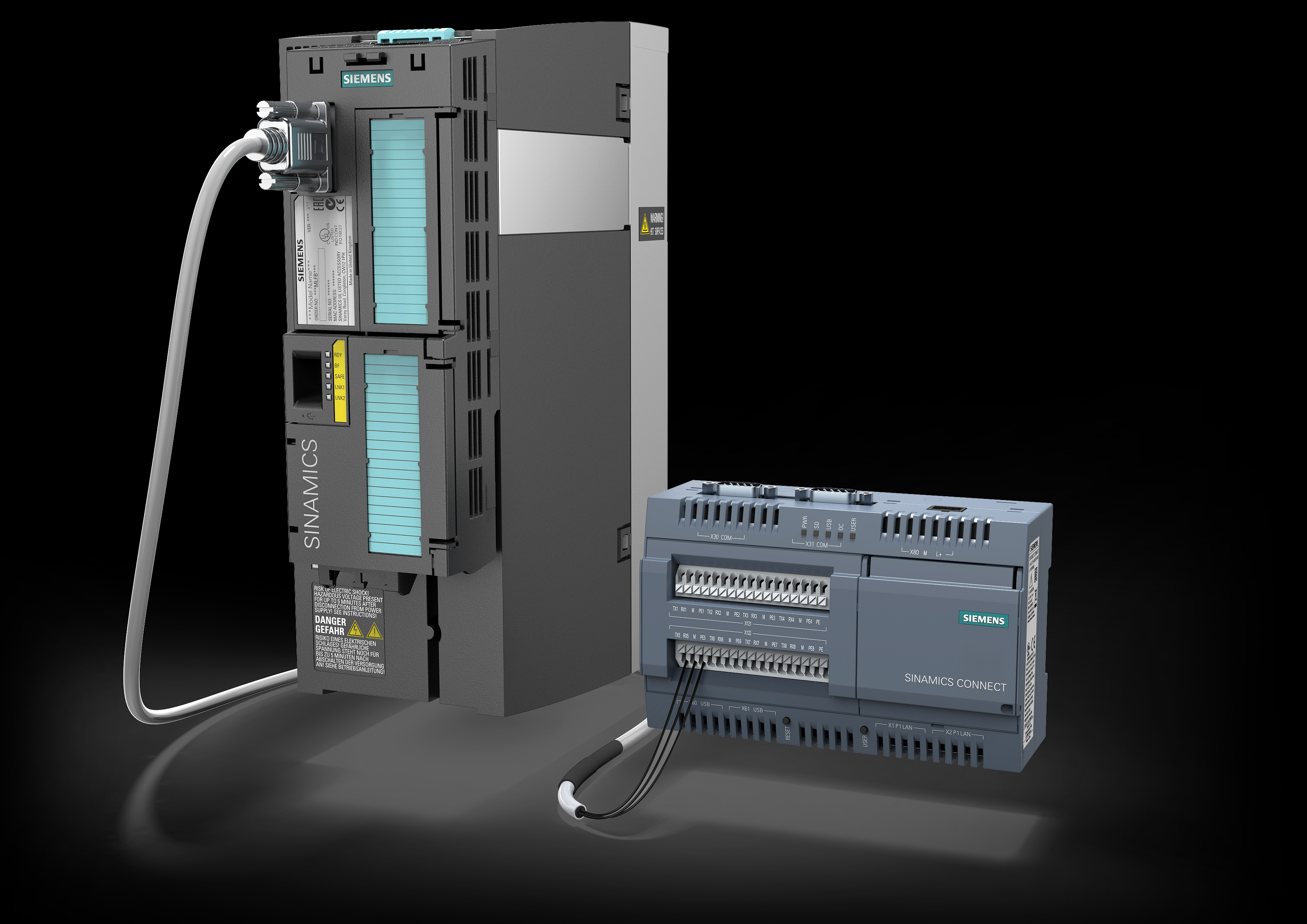 The new Sinamics Connect 300 from Siemens provides a simple plug-and-play solution for integrating converters of the Sinamics family into the IT world.