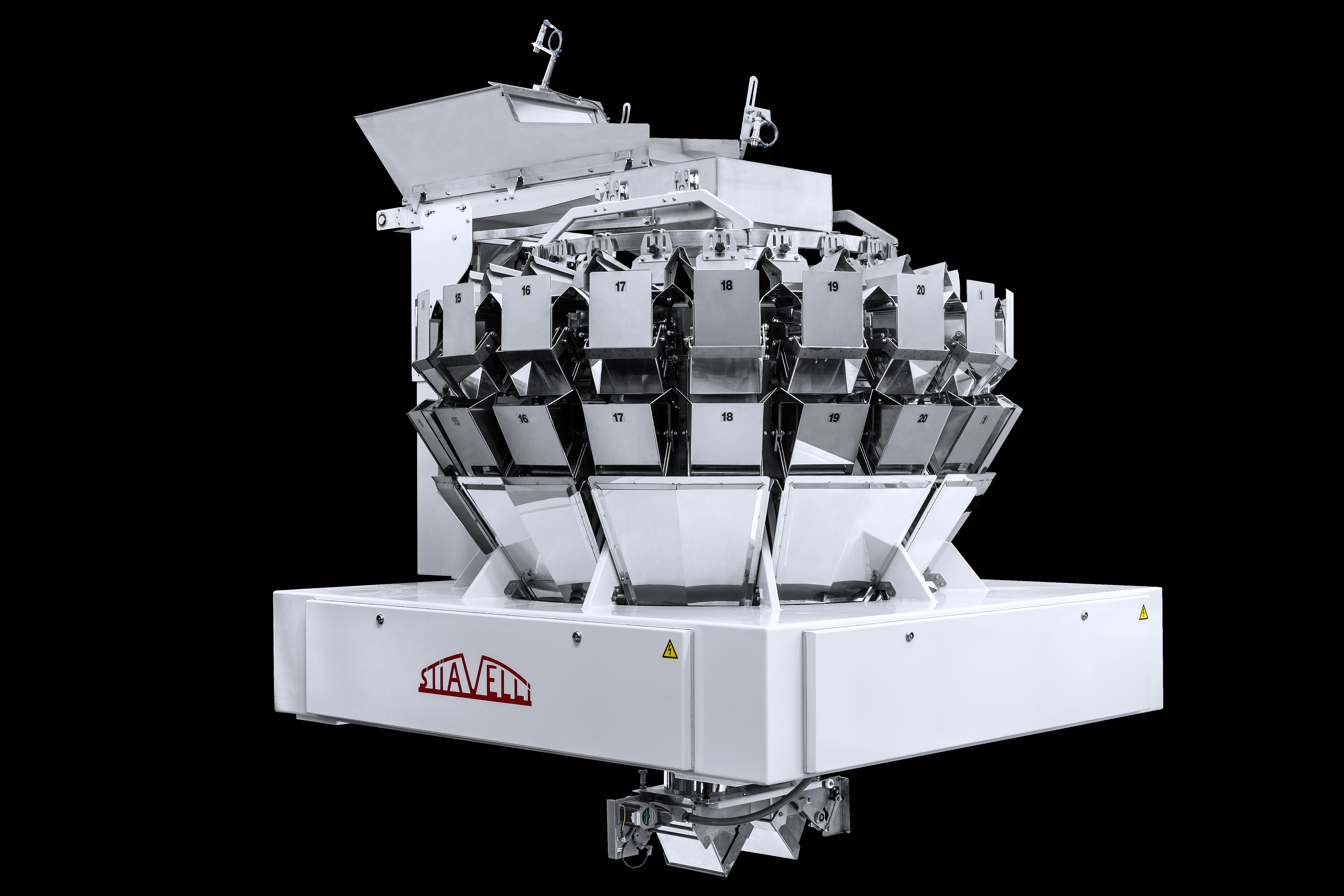 The Stiavelli SPC20 weigher is equipped with 20 hoppers.