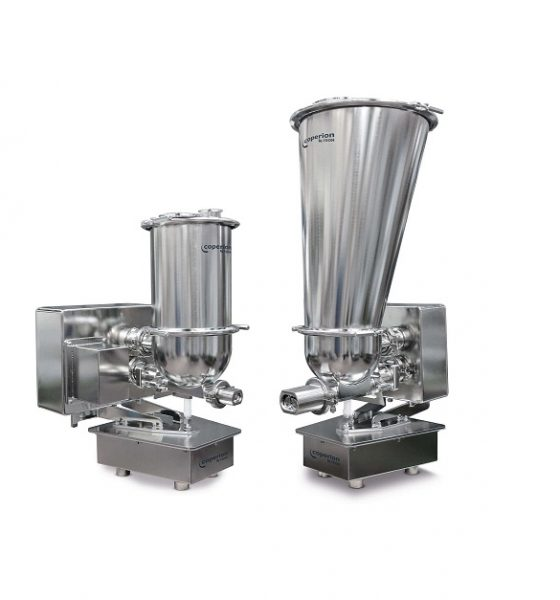 Coperion K-Tron's new QT20 and QT35 pharmaceutical feeders with redesigned trapezoid scale shape and significantly smaller footprint are optimized for multi-feeder clusters around a process inlet.